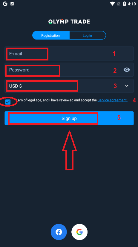Como se inscrever e fazer login na conta Olymp Trade